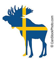 drapeau suédois, et, élan