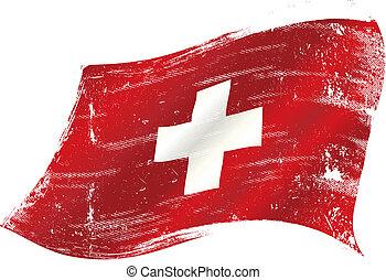 drapeau, suisse, grunge