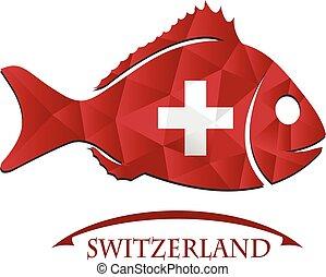 drapeau, suisse, logo, fait, fish