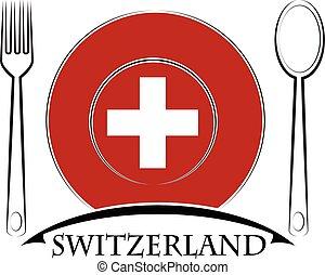 drapeau, suisse, logo, fait, nourriture