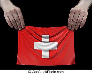 drapeau suisse, tenue, homme