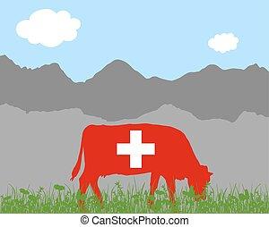 drapeau suisse, vache, alpe