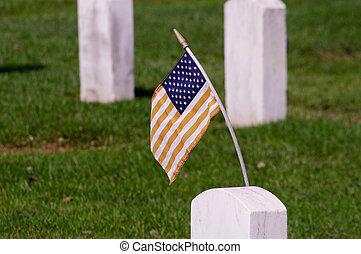 drapeau, sur, a, pierre tombale