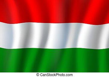 drapeau, symbole, national, 3d, réaliste, ondulé, hongrie