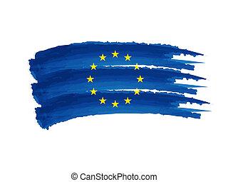 drapeau syndicats, dessin, européen