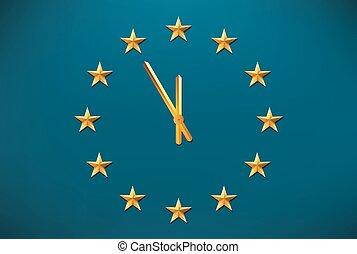 drapeau syndicats, européen, horloge