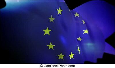 "drapeau syndicats, ""fluttering, slo-mo"", européen"