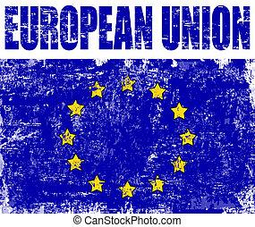 drapeau syndicats, grunge, européen