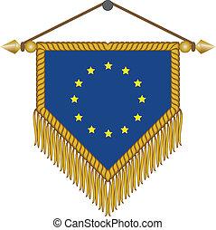 drapeau syndicats, vecteur, européen, fanion