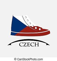 drapeau tchèque, fait, chaussures, icône