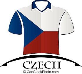 drapeau tchèque, fait, chemises, icône