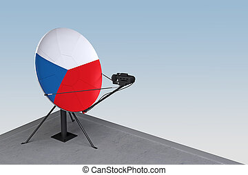 drapeau, tchèque, plat satellite
