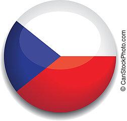 drapeau tchèque, république, bouton