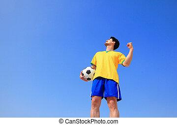 drapeau, tenue, homme, brésil, excité