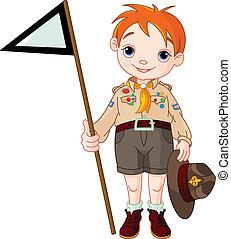 drapeau, tenue, scout, garçon