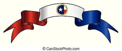drapeau, texan, ruban satin, icône