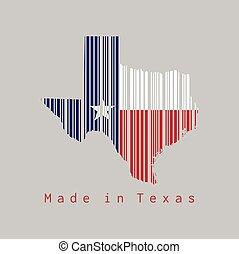 drapeau texas, text:, texas., barcode, contour, forme, ensemble, fond, couleur, fait, carte, gris