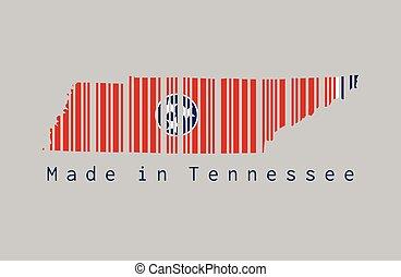 drapeau, text:, barcode, contour, forme, ensemble, tennessee, fond, tennessee., couleur, fait, carte, gris