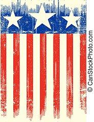 drapeau, thème, grunge, américain