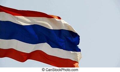drapeau thaïlande, battement des gouvernes, vent