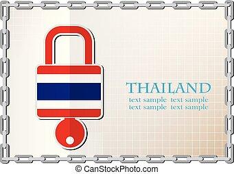 drapeau, thaïlande, logo, fait, serrure