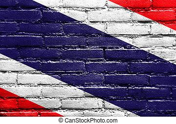 drapeau thaïlande, peint, sur, mur brique