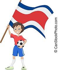 drapeau, tient, ventilateur, football, costa rica