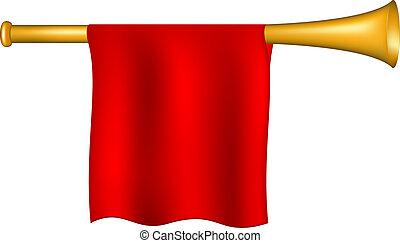 drapeau, trompette, rouges
