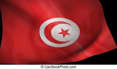 drapeau tunisie, animation, essuie-glace