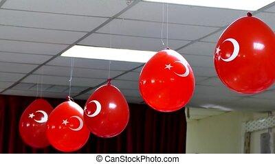 drapeau turc, drapeau, ballons, emblème