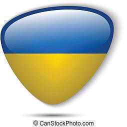 drapeau ukraine, lustré, bouton