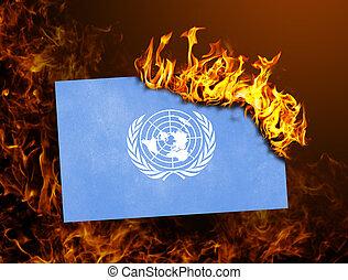 drapeau, uni, -, brûlé, nations