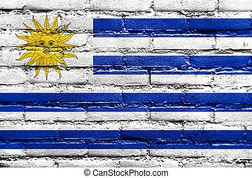 drapeau uruguay, peint, sur, mur brique
