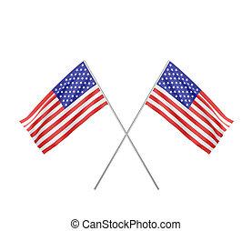 drapeau, usa, deux, traversé