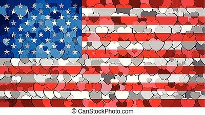 drapeau, usa, fond, cœurs, fait