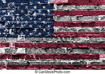 drapeau usa, peint, sur, mur brique