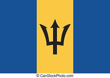 drapeau, vecteur, barbade