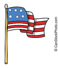 drapeau, vecteur, -, dessin animé, usa
