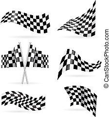 drapeau, vecteur, ensemble, checkered