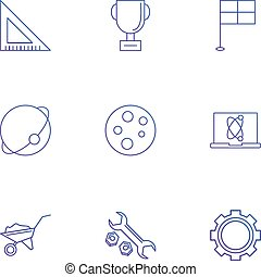 drapeau, vecteur, fou, géométrie, germes, engrenage, clé, trophée, ensemble, 9, eps, ordinateur portable, plaque, échelle, chariot, icônes, planète