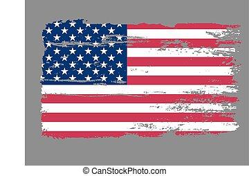 drapeau, vecteur, grunge, usa
