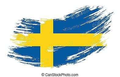 drapeau, vecteur, illustration., brosse, arrière-plan., grunge, suédois