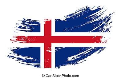 drapeau, vecteur, illustration., islandais, arrière-plan., grunge, brosse