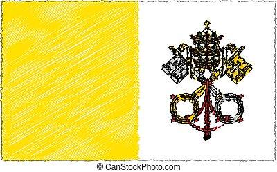 drapeau, vecteur, ville, illustration, style, croquis, vatican