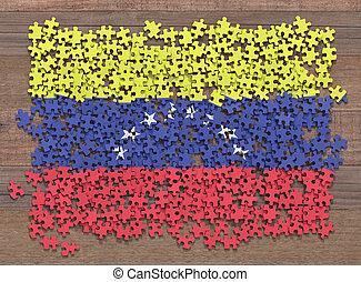 drapeau, venezuela, puzzle