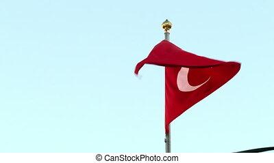 drapeau, vent, turc