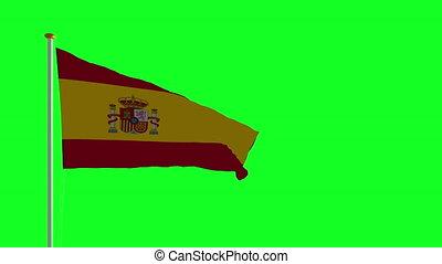 drapeau, vert, écran, espagne
