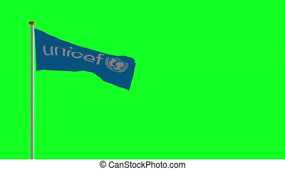 drapeau, vert, écran, unicef