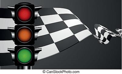 drapeau vert, courses, lumière