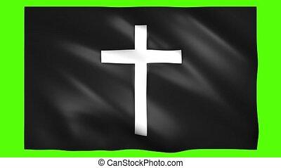 drapeau, vert, croix, écran, clã©, chroma